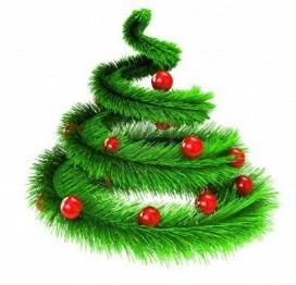 piccolo albero di Natale con palle rosse